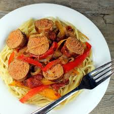 Sausage and Peppers over Pasta