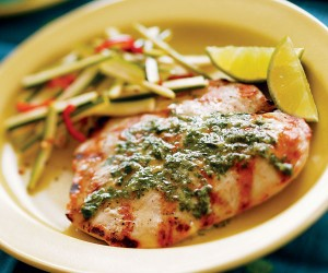 Grilled Pork with Cilantro Butter