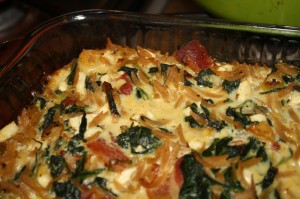 Baked Orzo with Bacon, Feta and Spinach