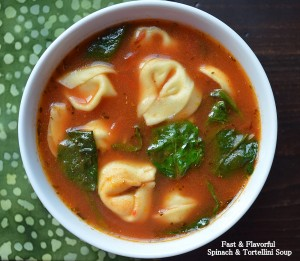 Garlicky tortellini, spinach, and tomato soup