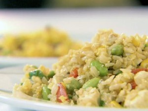 Shrimp and Egg Fried Rice with Napa Cabbage