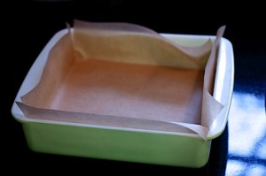 Parchment covered Baking Pan