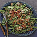 French Green Beans aka Haricots vert with cream, mushrooms & crisp bacon
