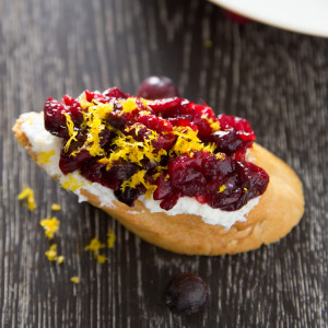 Roasted Cranberry and Orange Crostini